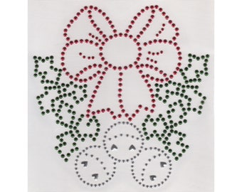 Bows & Bells Applique, Rhinestuds Iron On, DIY Iron On Heat Press Transfer H312