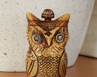 Carved Bone Owl Snuff Bottle