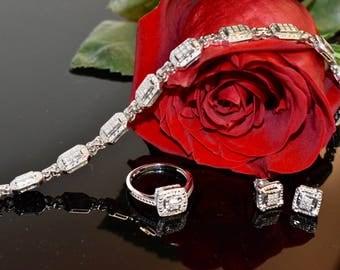 Estate Vintage Diamond Art Deco Jewelry Set, Diamond Ring, Diamond Earrings, Diamond Bracelet, Vintage Diamond Set, Anniversary Jewelry Set
