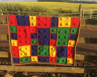 Lego Bricks Throw Blanket, Crochet Blanket, Throw Blanket, Childrens Blanket