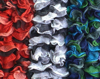 Ladies' Woman's Ruffle Scarves in Fine Mesh Yarn