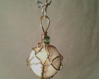 Wire Wrapped Quartz Beach Stone Necklace