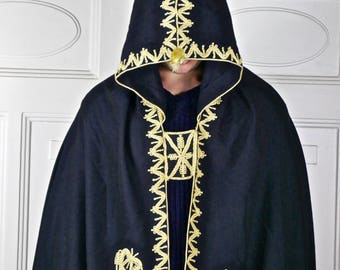 Moroccan Vintage Hooded Cape Cloak, Black Fine Wool w Gold Embroidery and Tassle Salham Cosplay Wizard Cape
