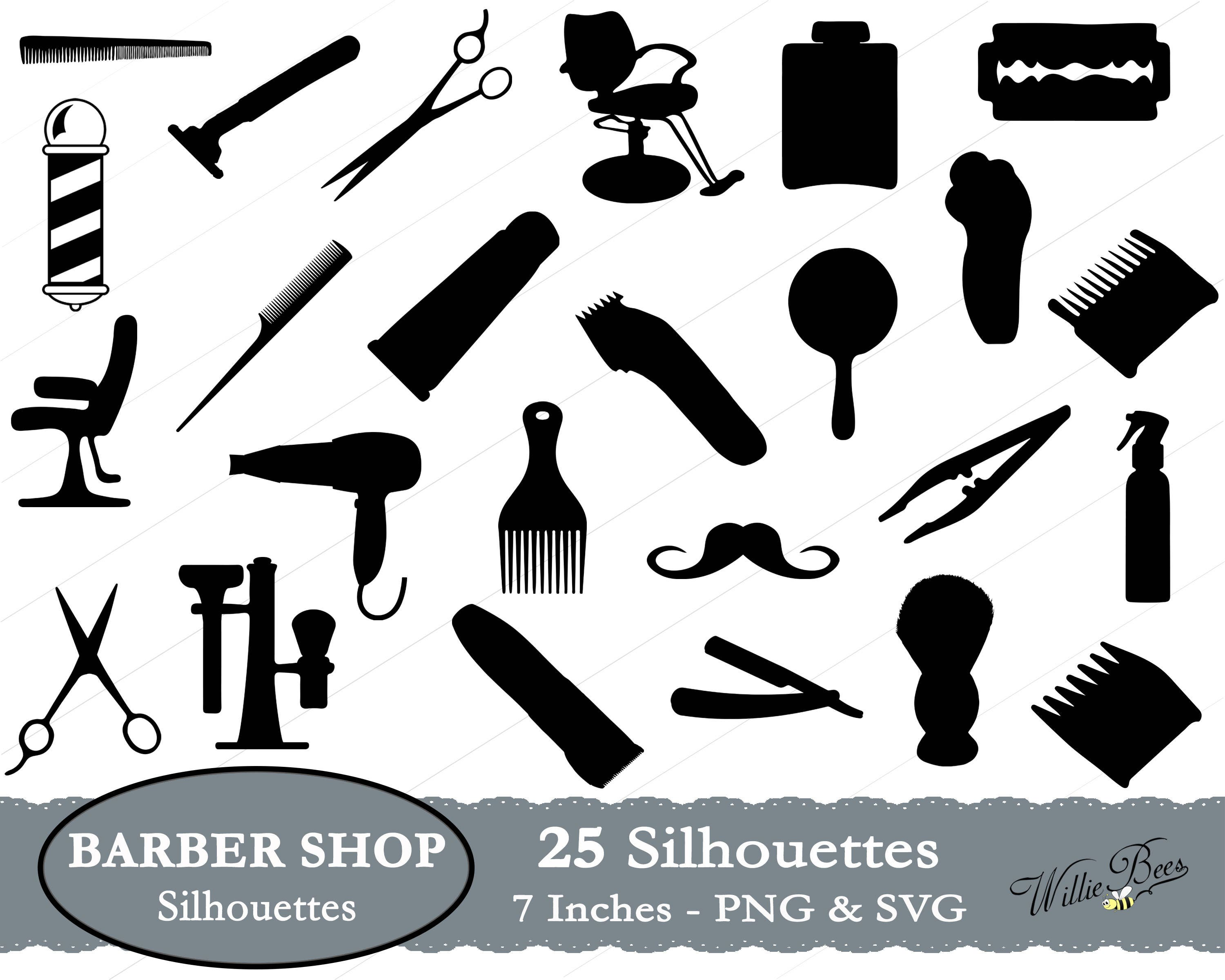 Barber Shop Silhouette Clipart Images - 7 inches - PNG ...
