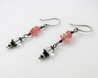Cherry Quartz Chip, Crystal Quartz and Sterling Silver Hand Forged Dangle Earrings