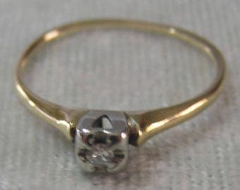 Vintage Diamond Illusion Solitaire Ring Ladies Solid Gold Ring