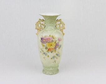 Vintage Vase / Olive Green Vase Flower Design Vase