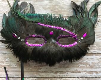 Beautiful handmade feather mask, masquered, ball mask, mardi gras, costume mask, mask, feather mask