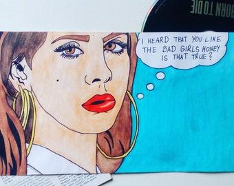 Comic painting of Lana Del Rey - Video Games