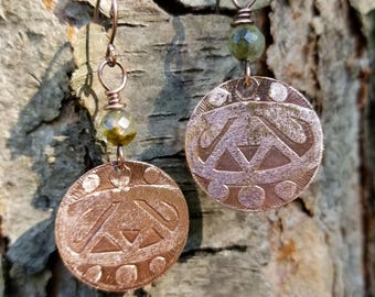 Handmade etched copper earrings