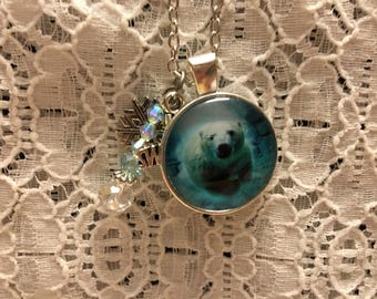 Swimming Polar Bear Charm Necklace/Polar Bear Charm Necklace/Polar Bear Jewelry/Polar Bear Pendant/Polar Bear Necklace/Polar Bears