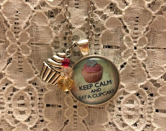 Keep Calm and Eat a Cupcake Charm Necklace/Keep Calm Jewelry/Keep Calm Pendant/Keep Calm Necklace/Keep Calm gift