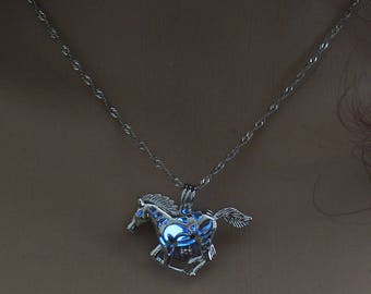 Horse glow in the dark silver chain running horse pendant necklace