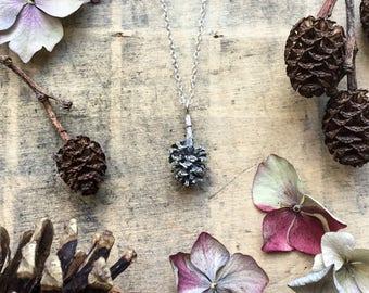 Sterling silver Pine cone necklace, pine cone pendant,  alder pendant,  large pine cone