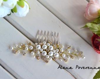 Bridal comb, Wedding Accessories, Wedding hair comb, Decorative Combs, Pearl hair comb, hair jewelry, gold jewelry, gold comb, Wedding comb
