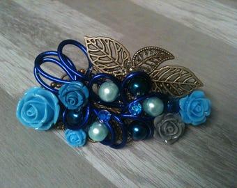 8 cm large barrette bronze /blue blue flower wedding/wedding/blue flower hair barrette and grey/hair clip bridal hair clip