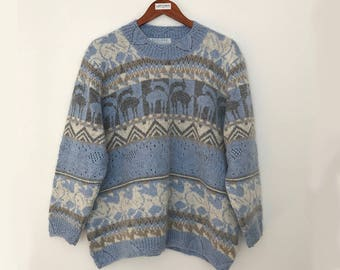 Scandinavian sweater / chunky sweater / 90s sweater / mohair sweater / mohair pullovers / mohair sweater women / 90s clothing /blue sweater
