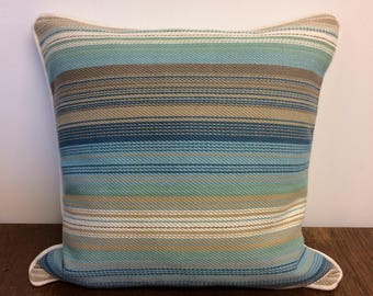 "Unique blue beige cream stripe cushion cover with contrast piping & back 18""x18"""