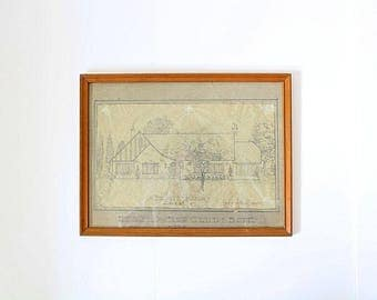 Original Architectural Drawing | House With Blueprint | Original Blueprint | Framed Drawing | Original Construction | 1945 Design