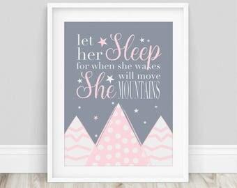 Let Her Sleep, Let Her Sleep Print, Let Her Sleep Poster, Girls Room Decor, Nursery Decor, Typography Print, Nursery Prints