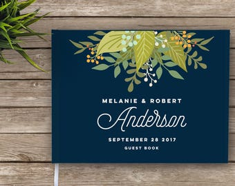 Wedding Guest Book, Boho, Floral Wedding Guestbook, Navy blue Custom Guest Book, Personalized Guest Book, guest book, garden wedding