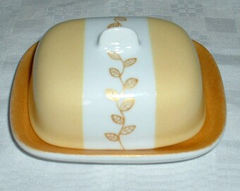 Small butter dish pattern small leaves
