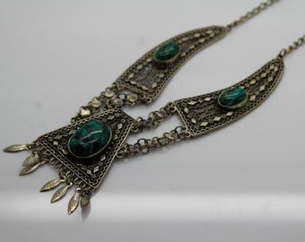 VINTAGE STERLING SILVER Filigree Turquoise Israel Necklace