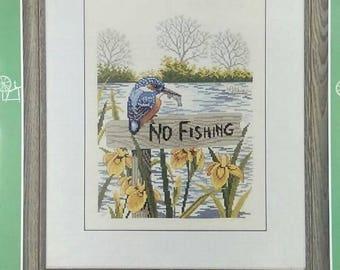Eva Rosenstand Cross Stitch Kit-No Fishing Sign w/ Bird-12-975 Clara Waever