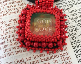 FREE SHIPPING.  Red bead embroidery necklace religious Christian necklace. Beaded embroidery pendant. God is love. Inspirational.