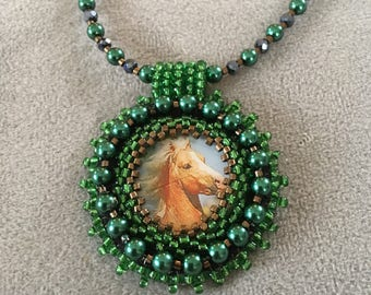 Bead embroidery necklace.  Green horse pendant necklace