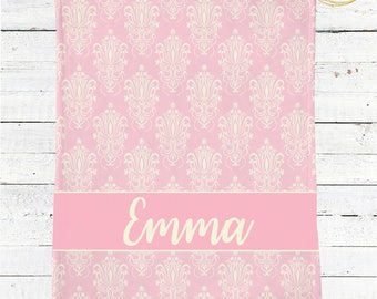 Pink Damask Baby Bedding / Name Baby Blanket Girl / Personalized Baby Blanket / Damask Baby Blanket / Gift For New Mom / Baby Shower Gift
