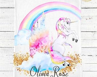 Unicorn Baby Blanket / Personalized Baby Blanket / Baby Shower Gift Girl / Baby Blanket Rainbow / Baby Blanket Personalized / Unicorn Gifts