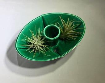 Mid Century Modern Candle Holder / Green Glaze Ceramic Tiki Candle Holder