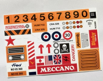 Meccano Combat Set vintage stickers/decals/labels 1978 custom reproduction on gloss vinyl