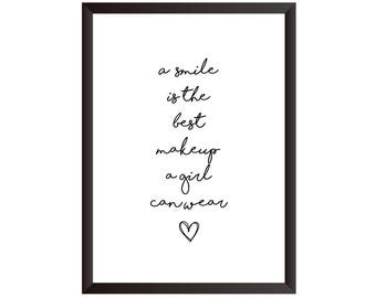 A Smile Is The Best Makeup A Girl Can Wear Wall Print - Wall Art, Home Decor, Makeup Print, Bedroom Print