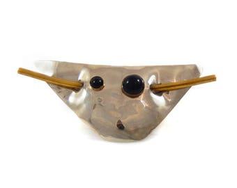 Modernist Sterling, Onyx, & Brass Artisan Brooch
