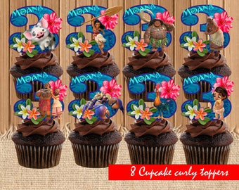 Moana Cupcake Toppers| Moana Birthday Party| Moana Cupcake Toppers| Moana Birthday Party Printable| INSTANT DOWNLOAD