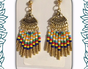 Antique gold fan earrings.