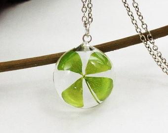 Four leaf clover necklace, Pressed flower jewelry, St patricks day necklace, Terrarium Jewelry, Clover, Botanical Jewelry, Lucky charm