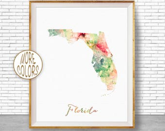 Florida Map Art Print Florida Art Print Florida Decor Florida Print Map  Artwork Map Print Map