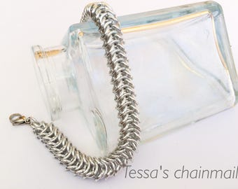 Chainmaille bracelet, silver bracelet, chainmaille box, silver chainmaille bracelet, chainmaille silver, silver jewelry, Tessa's chainmail