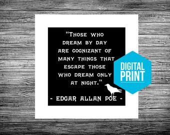 Edgar Allan Poe Library Wall Art Literature Black and White Goth Macabre Printable Art Printable Quote