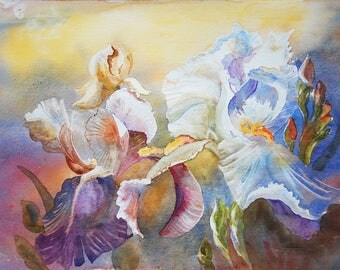 Original art painting contemporary, Contemporary Art, painting watercolor flowers for a night iris