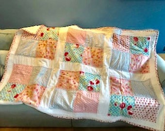 The Emma Quilt - Shabby chic pink and blue floral