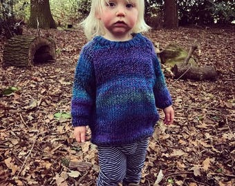 Made to Order Hand Knitted Baby Toddler Hippy Sweater Unisex - Multicolour Water