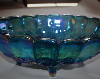 Carnival Glass Bowl Indiana Glass Blue Harvest