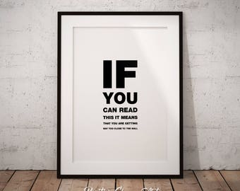 If You Can Read This, Funny Print Art, Funny Wall Art, If You Can Read, Kitchen Funny Art, Gag Gift Art, Funny Poster Art, Instant Download