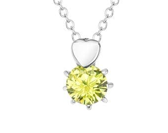 """Yellow-Green Solitaire Cubic Zirconia (CZ) Heart Pendant with Stainless Steel, 18"""" Chain Necklace"""