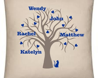 Family Tree personalised cushion