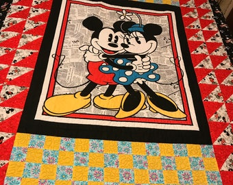 Mickey & Minnie Twin Long Arm Machine Quilted, black muslin backing